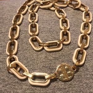 Tory Burch cream resin and gold link necklace